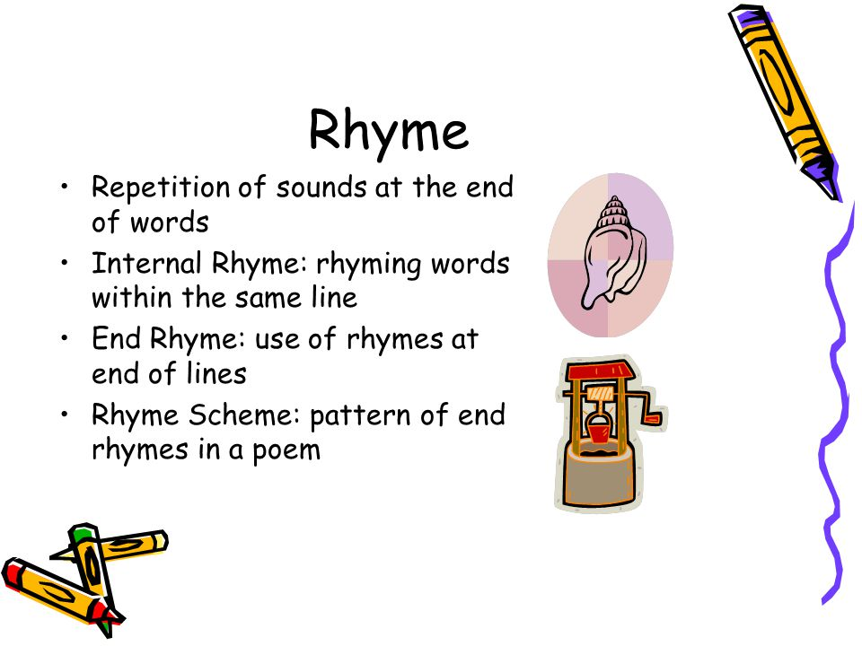 Rhyme Repetition of sounds at the end of words