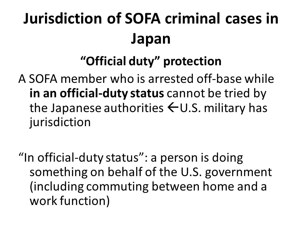 Jurisdiction of SOFA criminal cases in Japan
