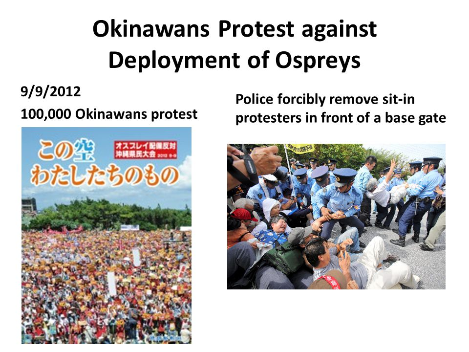 Okinawans Protest against Deployment of Ospreys