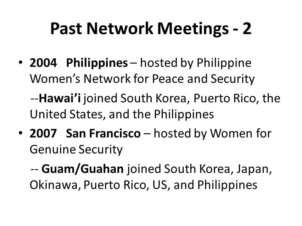 Past Network Meetings - 2