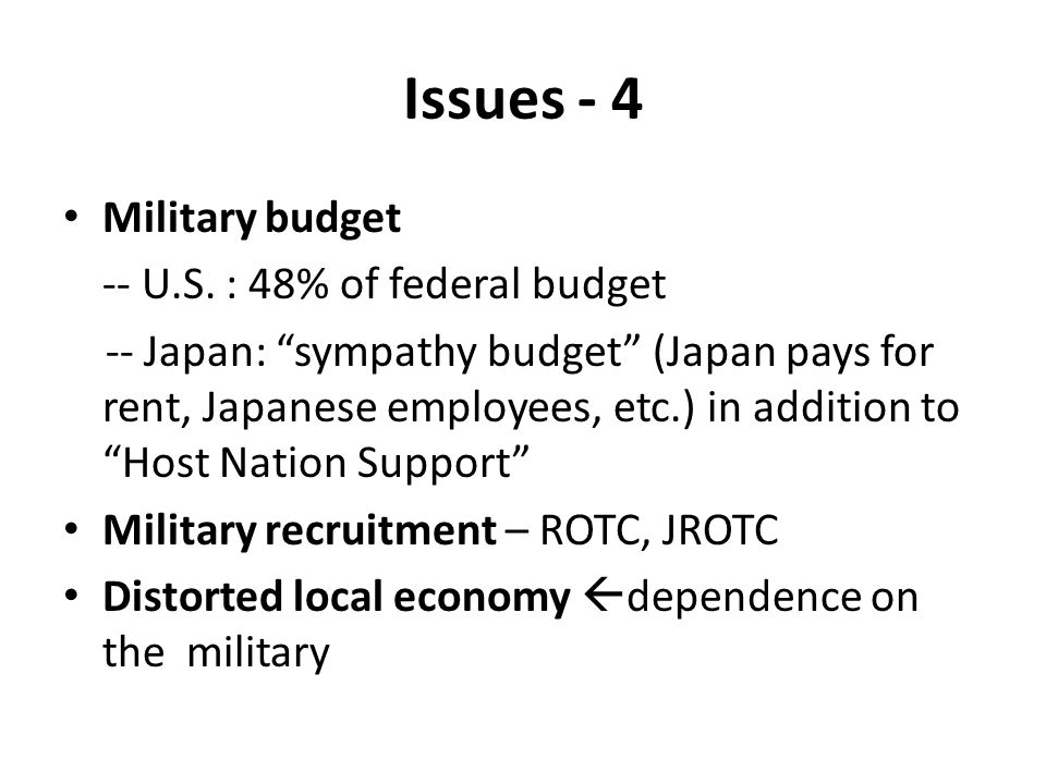 Issues - 4 Military budget -- U.S. : 48% of federal budget