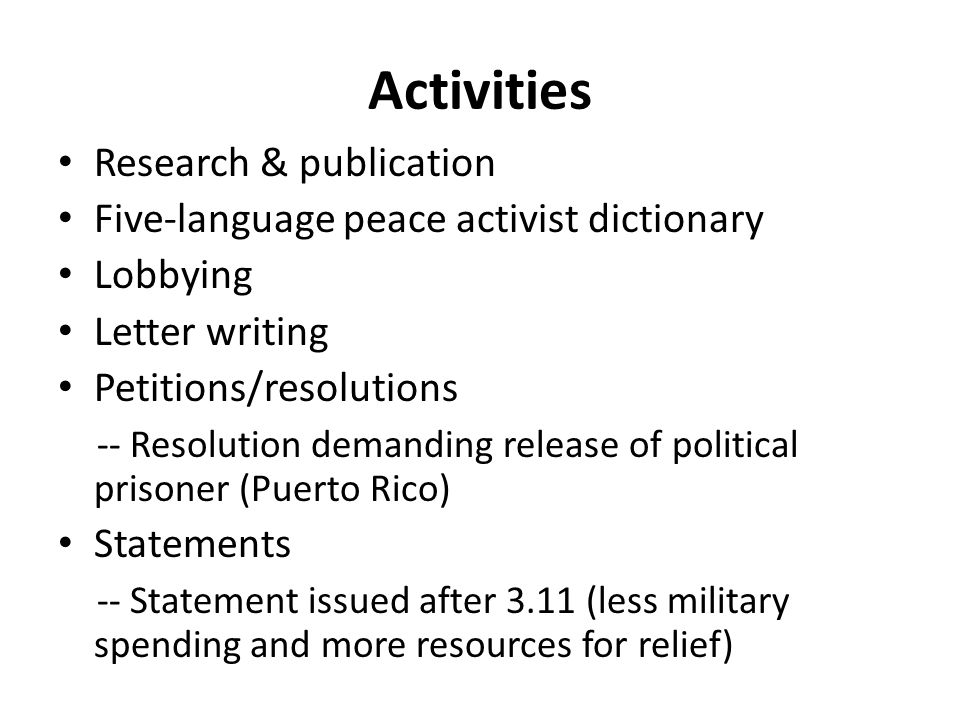 Activities Research & publication