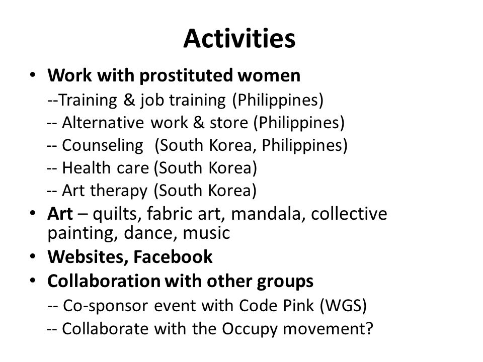 Activities Work with prostituted women