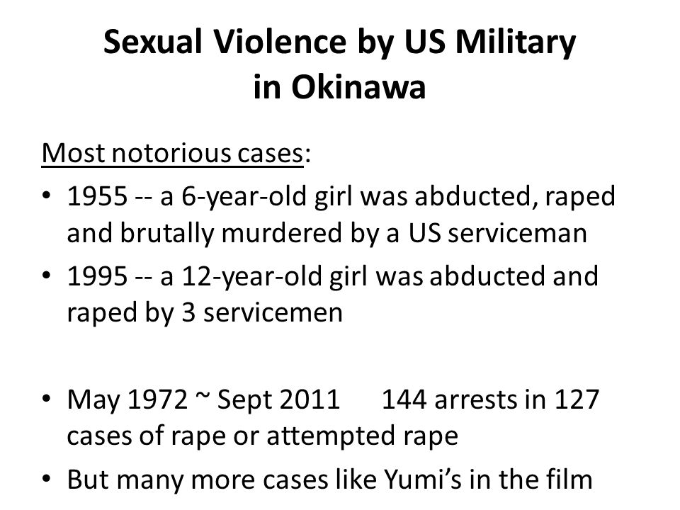 Sexual Violence by US Military in Okinawa