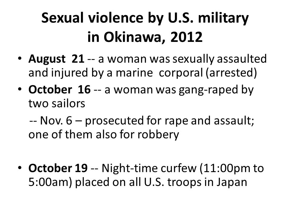 Sexual violence by U.S. military in Okinawa, 2012