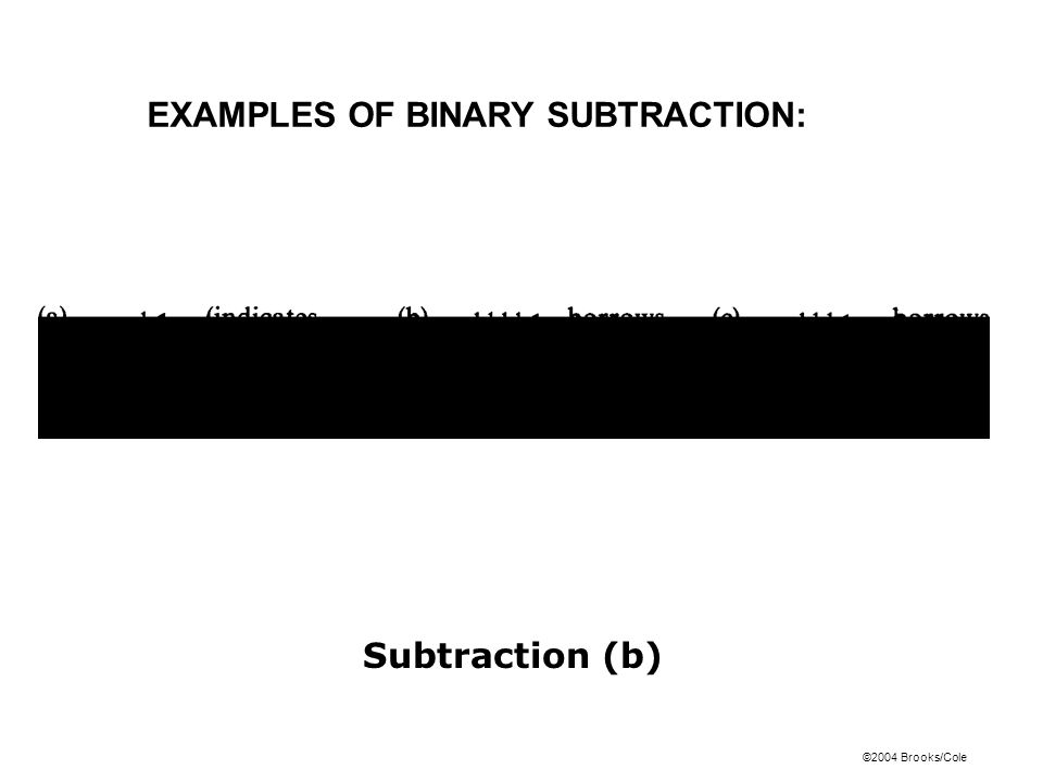 EXAMPLES OF BINARY SUBTRACTION: