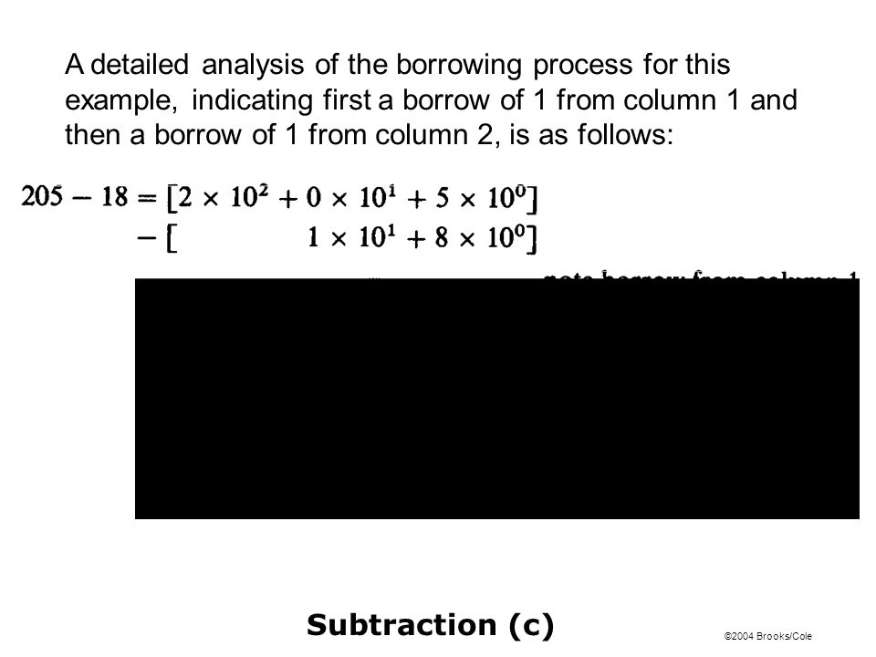 A detailed analysis of the borrowing process for this example, indicating first a borrow of 1 from column 1 and then a borrow of 1 from column 2, is as follows:
