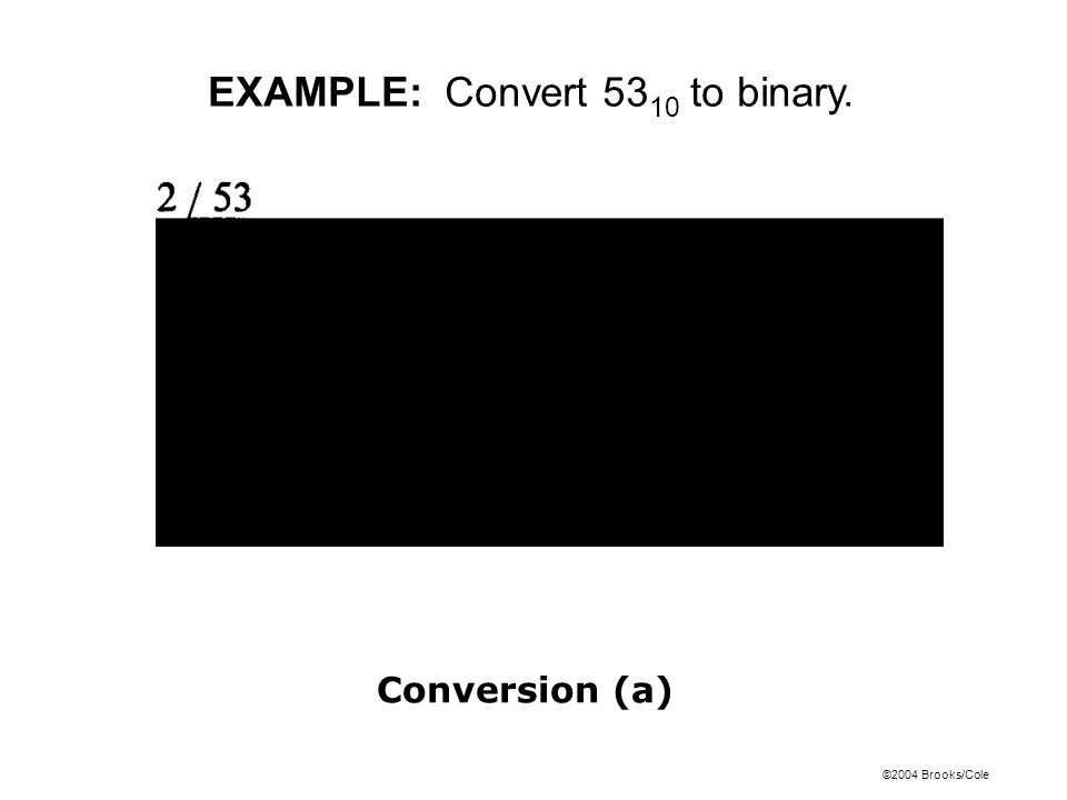 EXAMPLE: Convert 5310 to binary.