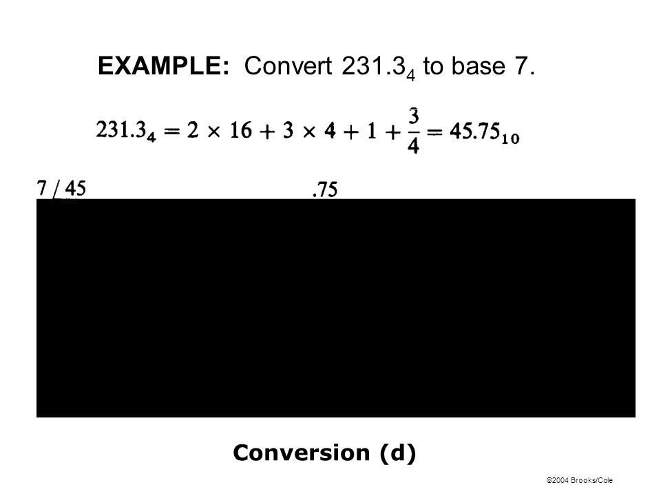 EXAMPLE: Convert 231.34 to base 7.