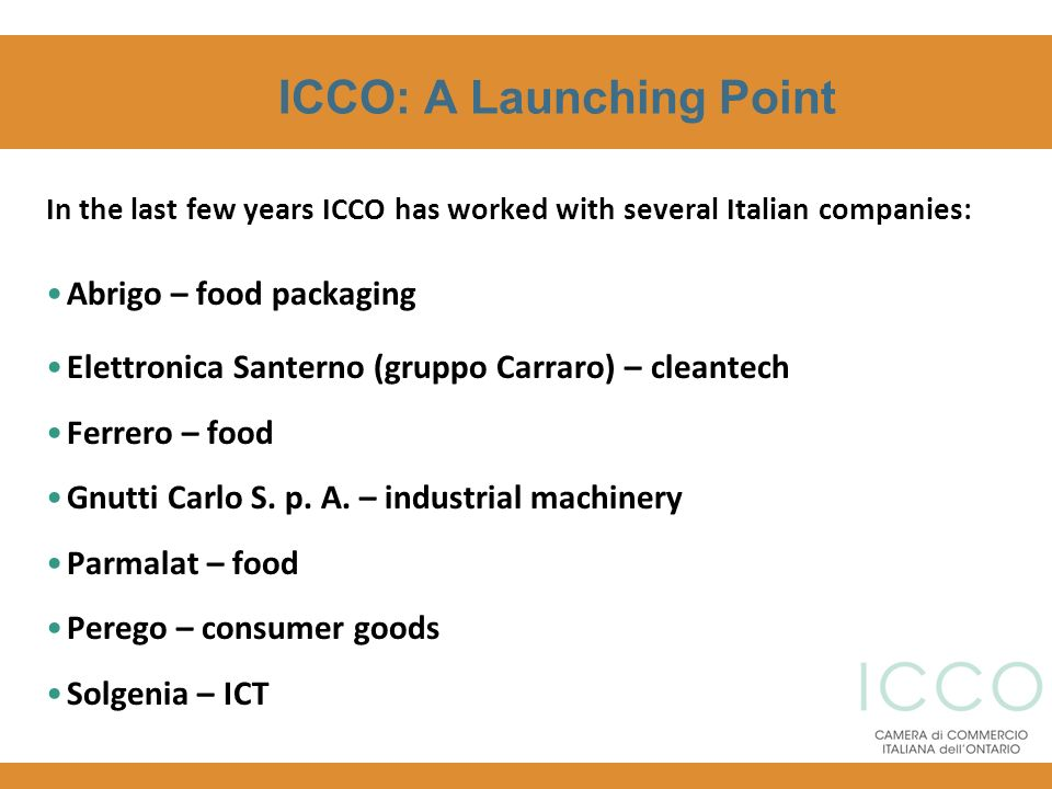 ICCO: A Launching Point