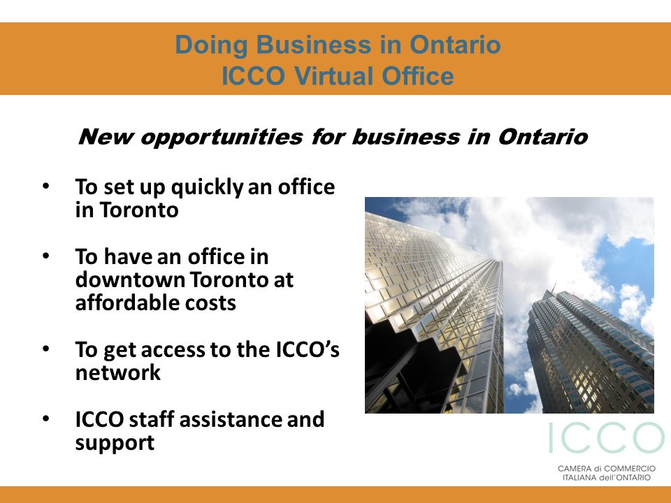Doing Business in Ontario New opportunities for business in Ontario