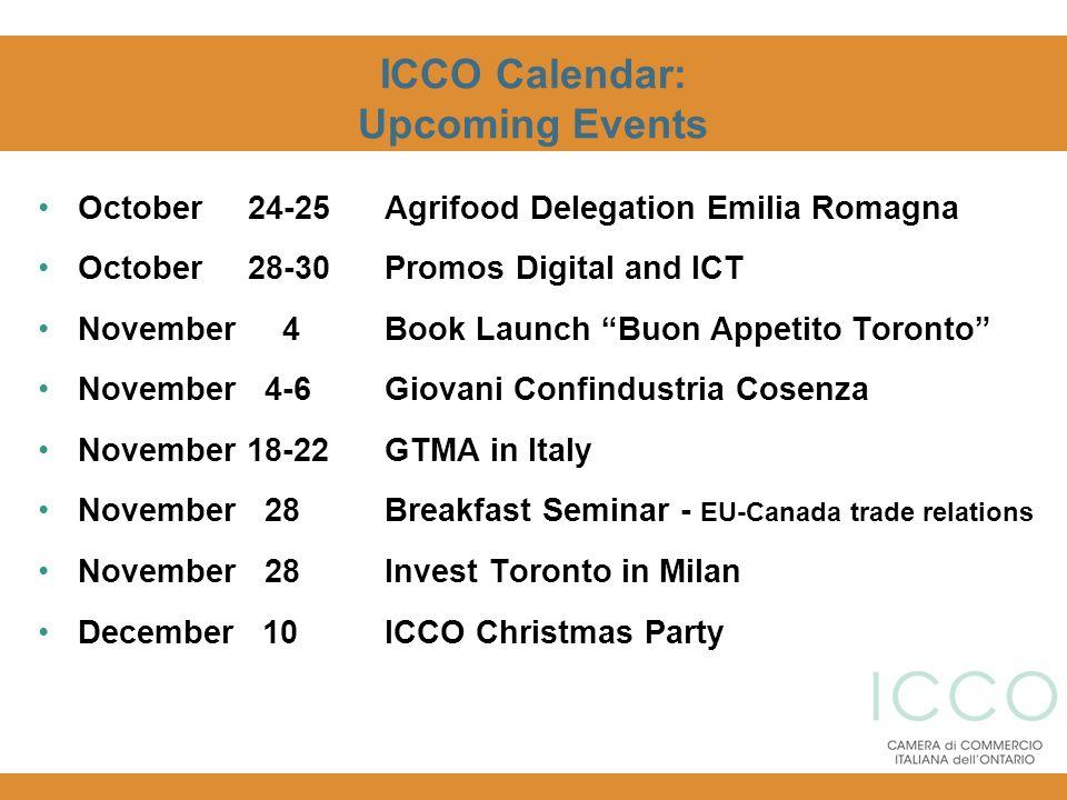 ICCO Calendar: Upcoming Events