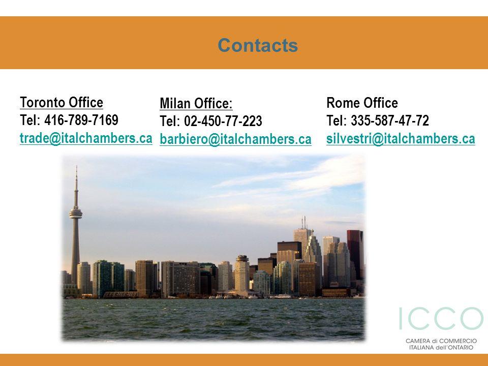 Contacts Toronto Office Tel: 416-789-7169 trade@italchambers.ca