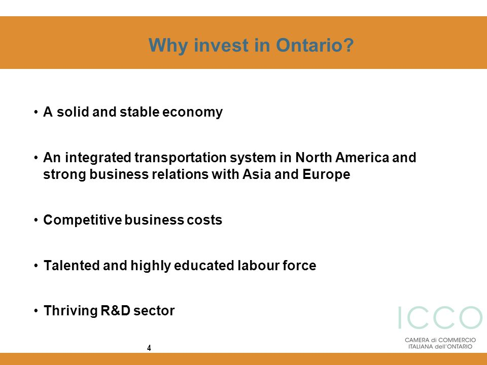 Why invest in Ontario A solid and stable economy