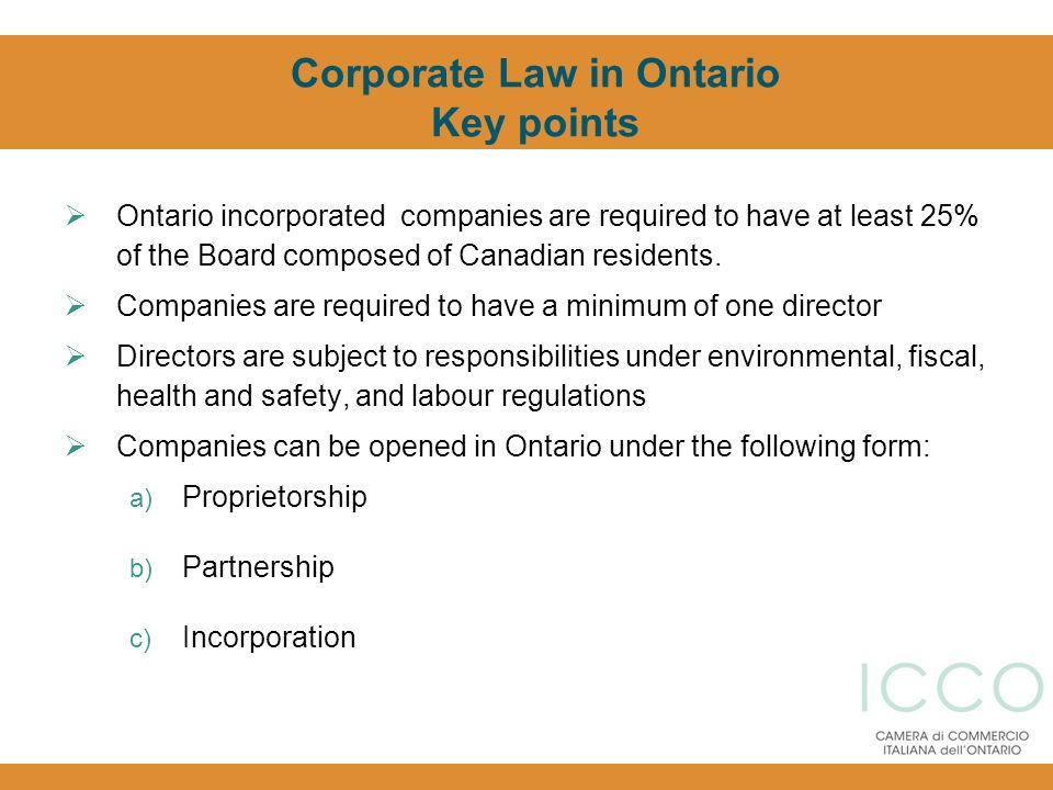 Corporate Law in Ontario Key points