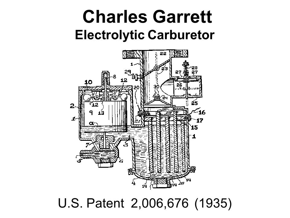 Charles Garrett Electrolytic Carburetor U.S. Patent 2,006,676 (1935)