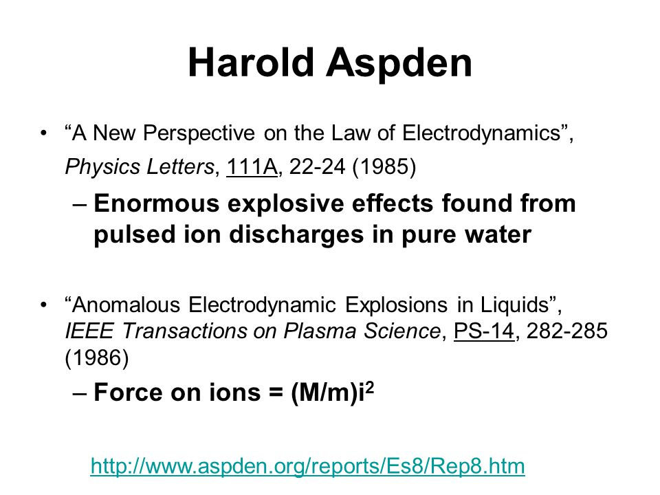Harold Aspden A New Perspective on the Law of Electrodynamics , Physics Letters, 111A, 22-24 (1985)