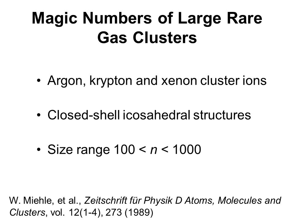 Magic Numbers of Large Rare Gas Clusters
