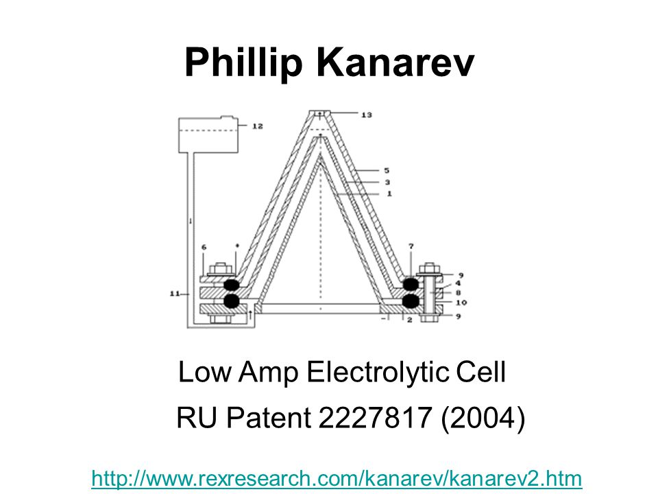 Phillip Kanarev Low Amp Electrolytic Cell RU Patent 2227817 (2004)