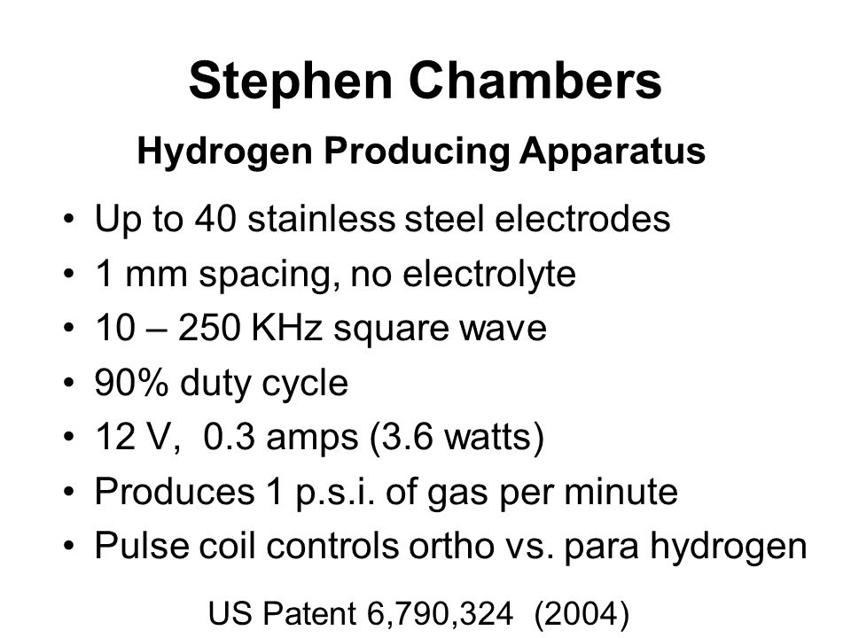 Stephen Chambers Hydrogen Producing Apparatus