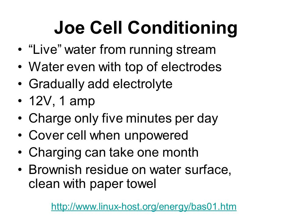 Joe Cell Conditioning Live water from running stream