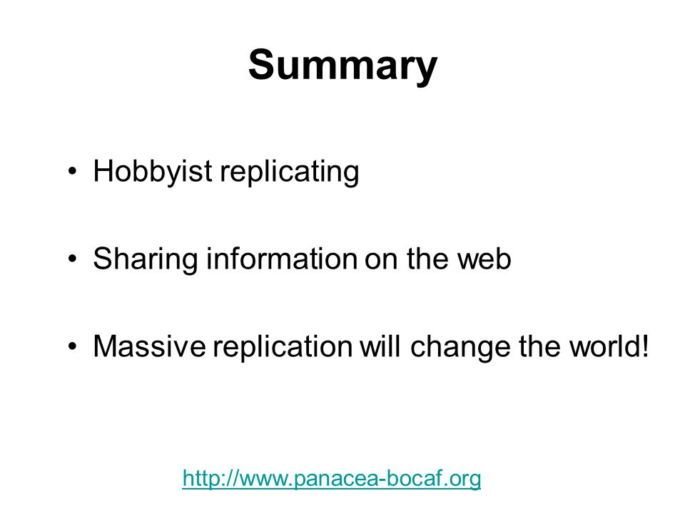 Summary Hobbyist replicating Sharing information on the web