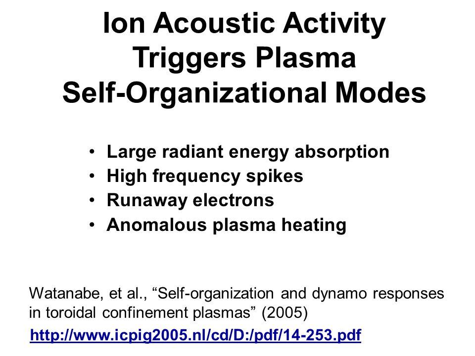 Ion Acoustic Activity Triggers Plasma Self-Organizational Modes