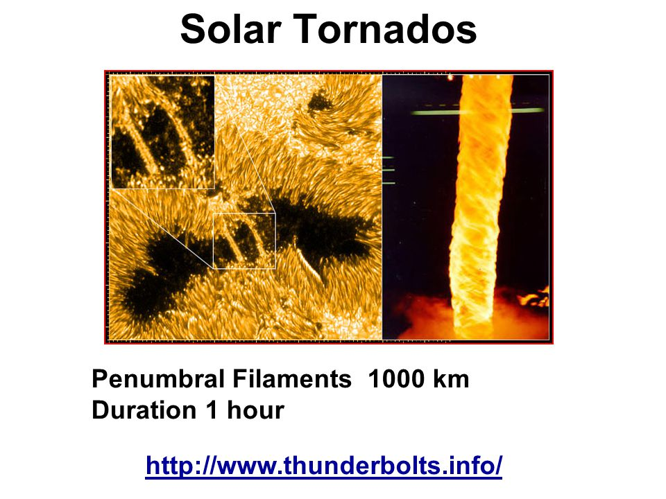 Solar Tornados Penumbral Filaments 1000 km Duration 1 hour