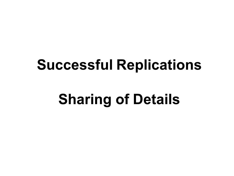 Successful Replications Sharing of Details