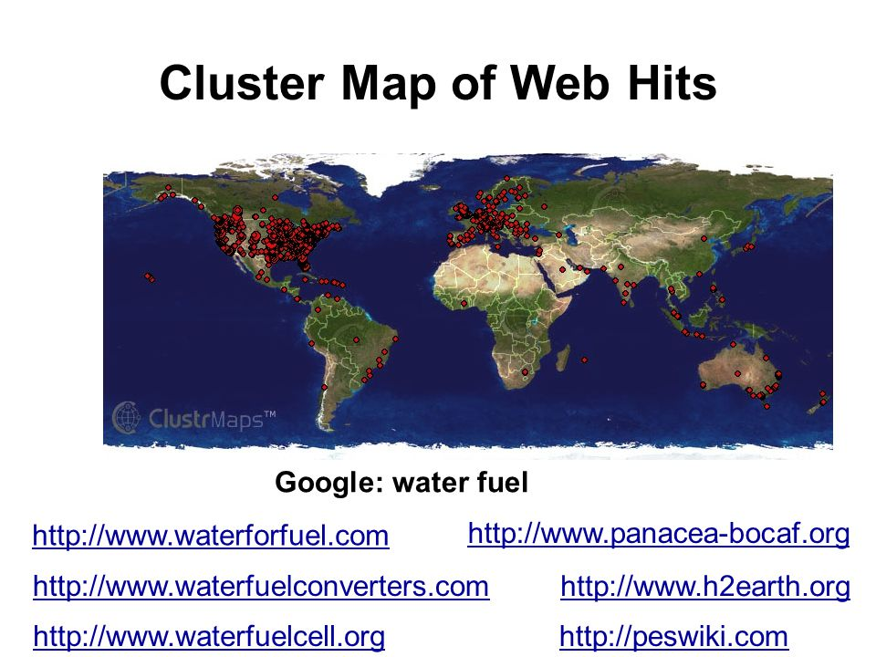 Cluster Map of Web Hits Google: water fuel http://www.waterforfuel.com