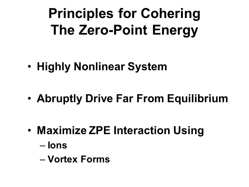 Principles for Cohering The Zero-Point Energy
