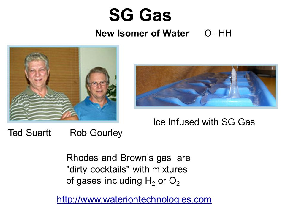 SG Gas New Isomer of Water O--HH Ice Infused with SG Gas