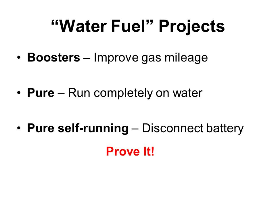 Water Fuel Projects Boosters – Improve gas mileage