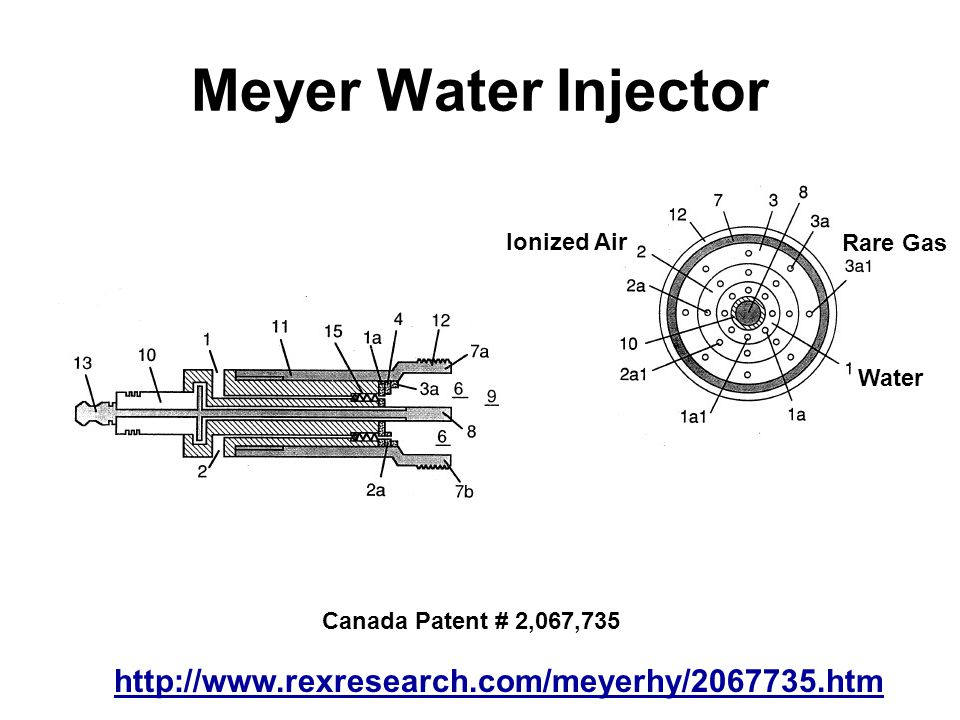 Meyer Water Injector http://www.rexresearch.com/meyerhy/2067735.htm