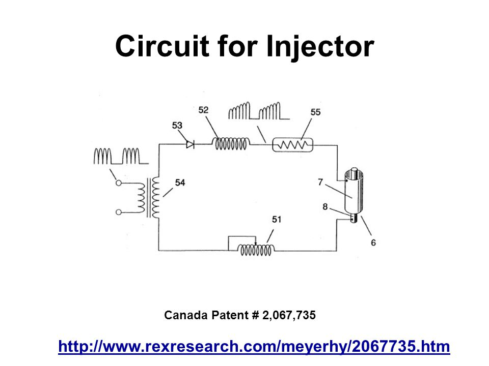 Circuit for Injector http://www.rexresearch.com/meyerhy/2067735.htm