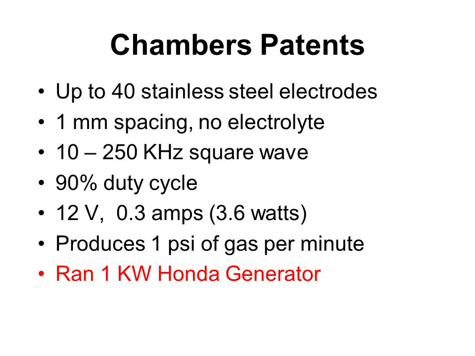 Chambers Patents Up to 40 stainless steel electrodes