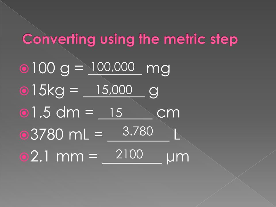 Converting using the metric step