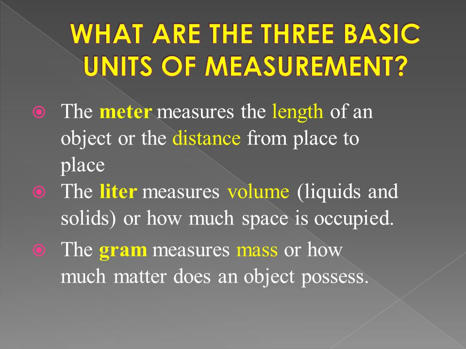 WHAT ARE THE THREE BASIC UNITS OF MEASUREMENT