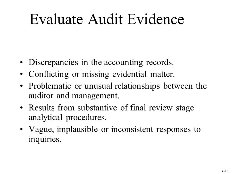 Evaluate Audit Evidence