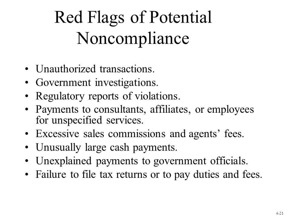 Red Flags of Potential Noncompliance