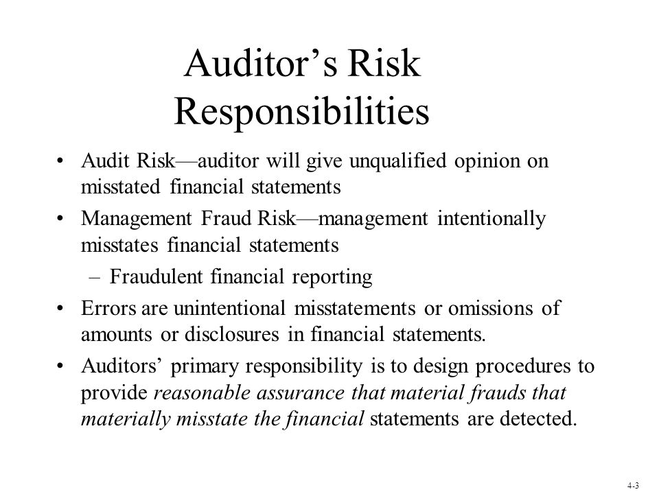 Auditor's Risk Responsibilities