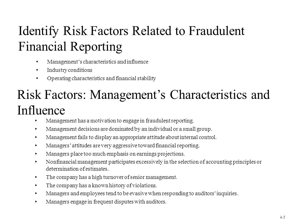 Identify Risk Factors Related to Fraudulent Financial Reporting