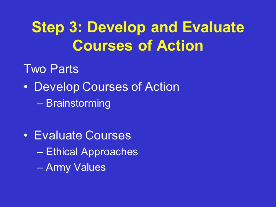 ethical guidelines and courses of action Looking for your california ethics course click here as a real estate professional, you're likely to encounter unexpected ethical dilemmas as you go about your daily business that's why the national association of realtors® provides its members with a regularly updated code of ethics and standards of practice.