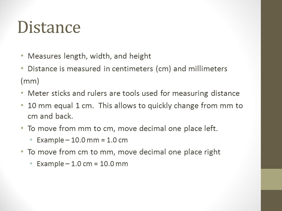 Distance Measures length, width, and height