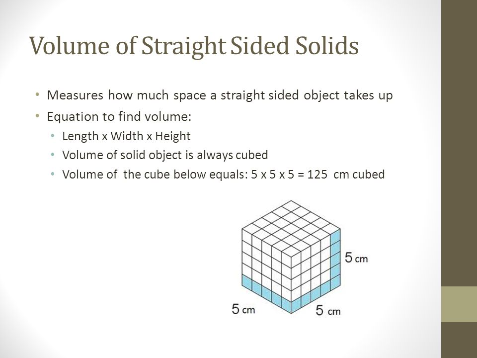 Volume of Straight Sided Solids
