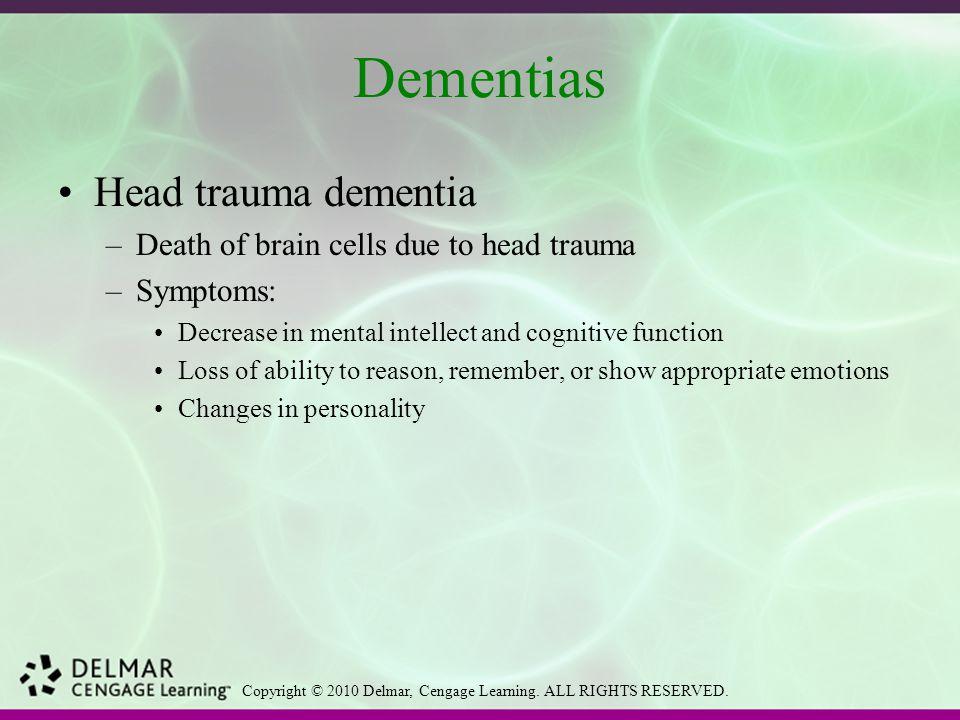 dementia function Dementia causes problems with thinking, memory, and reasoning it happens when the parts of the brain used for learning, memory, decision making, and language are damaged or diseased also called major neurocognitive disorder, it's not a disease itself instead, it's a group of symptoms caused by.