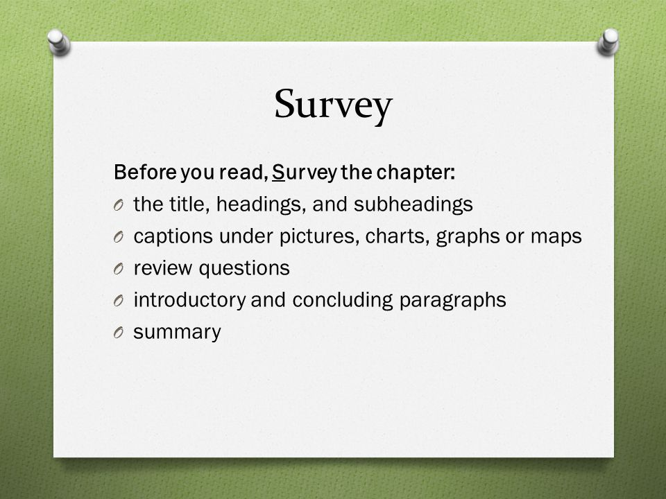 Survey Before you read, Survey the chapter: