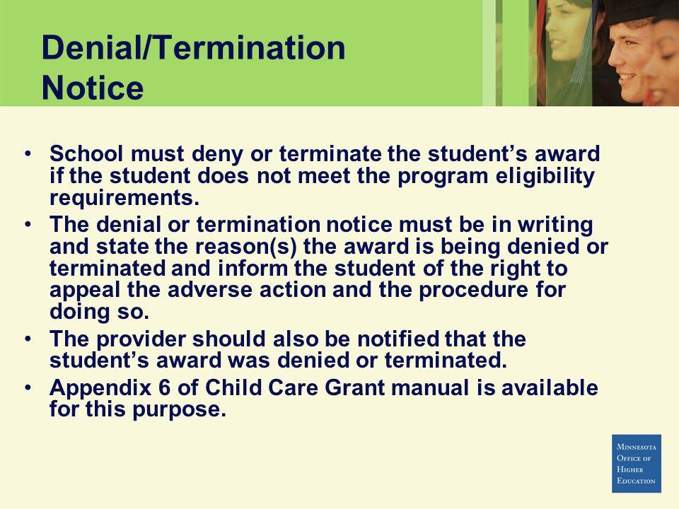 Denial/Termination Notice