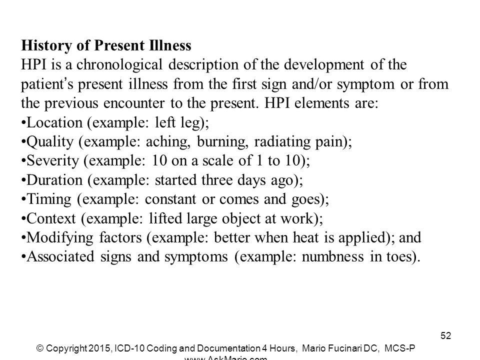 History present illness examples