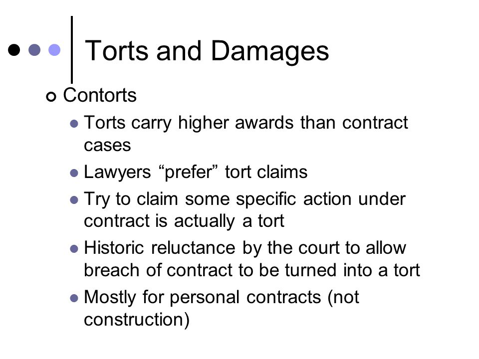 torts and damages Introduction a tort is a civil breach committed against another in which the  injured party can sue for damages in personal injury cases, the injured party will .